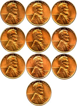 Image of Investor Lot of 1950 1c: All PCGS MS65 RD (10 Coins)