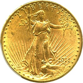 Image of 1911-D $20 PCGS MS64