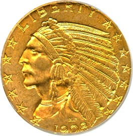 Image of 1908 Indian $5 PCGS MS63