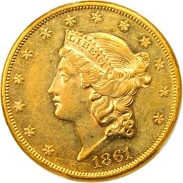 Image of 1861 $20 PCGS AU55