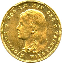 Image of Netherlands: 1897 Gold 10 Gulden PCGS MS63 (KM-118) 0.1947 oz gold