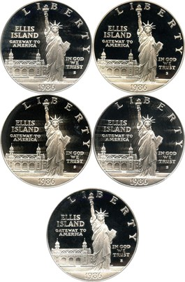 Image of Investor Lot of 1986-S Statue Liberty $1: All PCGS Proof 69 DCAM (5 Coins) - No Reserve!