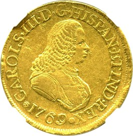 Image of Colombia: 1769/67-PN J Gold 8 Escudos NGC AU50 (KM-38.2)