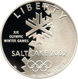 Image of 2002-P Salt Lake City Olympics $1 PCGS Proof 69 DCAM
