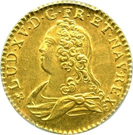 Image of France: 1738-B Gold Louis D'Or PCGS Secure MS62 (KM-489.3) 0.2405 oz gold