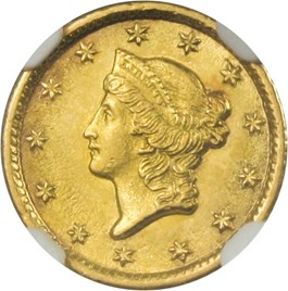 Image of 1853-O G$1 NGC MS62 - Popular New Orleans Gold Dollar