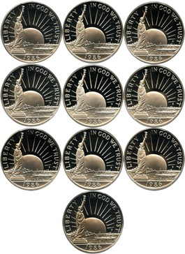 Image of Investor Lot of 1986-S Statue Liberty 50c: All PCGS Proof 69 DCAM (10 Coins) - No Reserve!