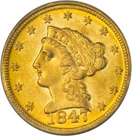 Image of 1847-D $2 1/2 PCGS MS62
