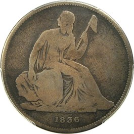 Image of 1836 Gobrecht $1 PCGS/CAC Proof Good-4 (Name on Base, Original, Coin Alignment)