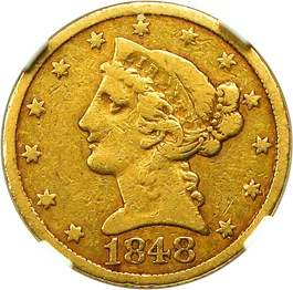 Image of 1848-C $5 NGC/CAC VF25