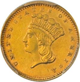 Image of 1867 G$1 PCGS AU58 (J.S. Morgan Collection)