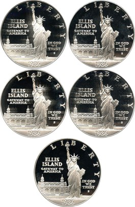 Image of Investor Lot of 1986-S Statue Liberty $1: All PCGS Proof 69 DCAM (5 Coins)