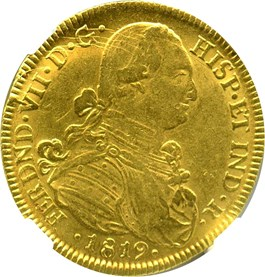 Image of Colombia: 1819-NR JF Gold 8 Escudos NGC AU58 (KM-66.1) 0.7614 oz gold