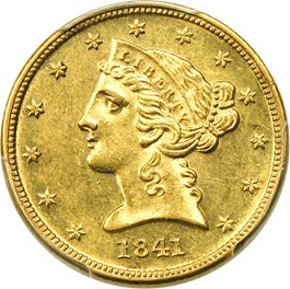 Image of 1841-D $5 PCGS AU58 (Small D)