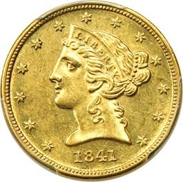 Image of 1841-D $5 PCGS AU58 (Small D)