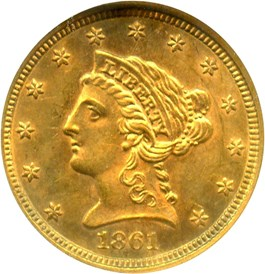 Image of 1861 $2 1/2 NGC MS62 (New Reverse)