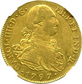 Image of Colombia: 1797-P JF Gold 8 Escudos NGC AU50 (KM-62.2) 0.7614 oz gold