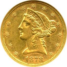 Image of 1878-S $5 NGC AU58