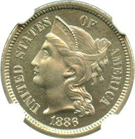 Image of 1886 3cN NGC/CAC Proof 66