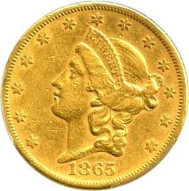 Image of 1865-S $20 PCGS AU50