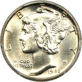 Image of 1945 10c PCGS/CAC MS65 FB