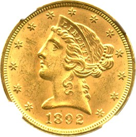 Image of 1892 $5 NGC MS64