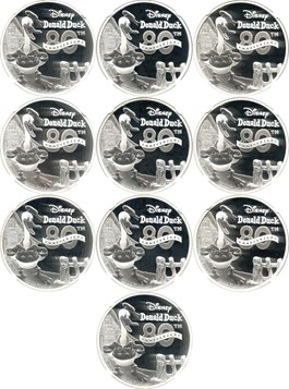 Image of Niue: Lot of 2014 Donald Duck $2 NGC PF69 UCAM (Early Releases - 10 Coins)