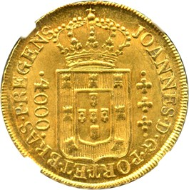 Image of Brazil: 1812-R Gold 4000 Reis NGC MS64 (Port Et Bras, KM-325.3) 0.2379 oz gold