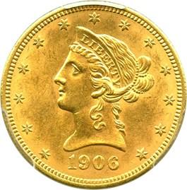 Image of 1906 $10 PCGS MS62