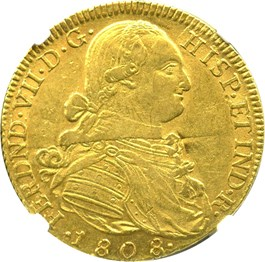 Image of Colombia: 1808-NR JF/JJ Gold 8 Escudos NGC AU55 (KM-66.1) 0.7614 oz gold