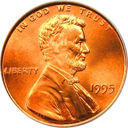 Image of 1995 1c PCGS MS66 RD (Doubled Die Obverse)