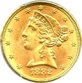 Image of 1882 $5 PCGS MS64