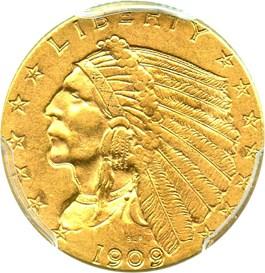 Image of 1909 $2 1/2 PCGS AU55