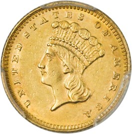 Image of 1866 G$1 PCGS/CAC AU58