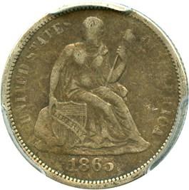 Image of 1865-S 10c PCGS VF30