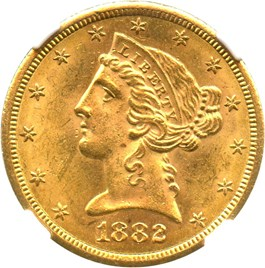 Image of 1882-S $5 NGC MS64