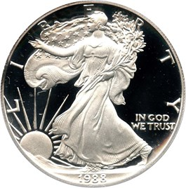 Image of 1988-S Silver Eagle $1 PCGS Proof 69 DCAM