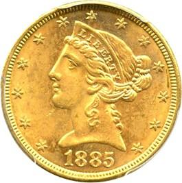 Image of 1885 $5 PCGS MS63