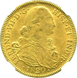 Image of Colombia: 1820-NR JF Gold 8 Escudos NGC AU58 (KM-66.1) 0.7614 oz gold