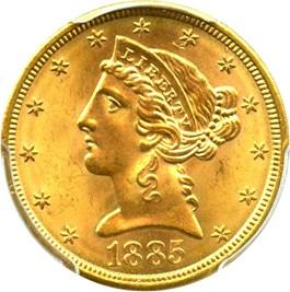 Image of 1885-S $5 PCGS MS66