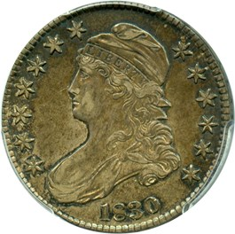 Image of 1830 50c PCGS/CAC AU53 (Small 0)