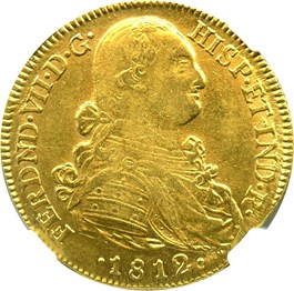 Image of Colombia: 1812-NR JF Gold 8 Escudos NGC AU58 (KM-66.1) 0.7614 oz gold