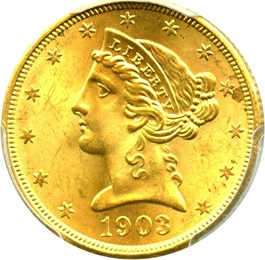 Image of 1903-S $5 PCGS MS65