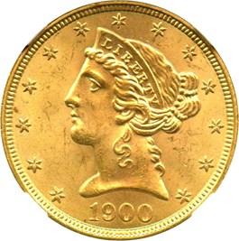 Image of 1900 $5 NGC MS65