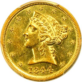 Image of 1844-D $5 PCGS MS61