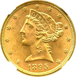 Image of 1895 $5 NGC MS64
