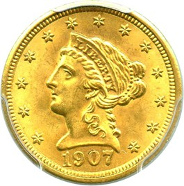 Image of 1907 $2 1/2 PCGS MS64