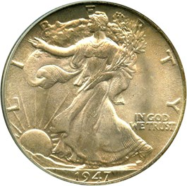 Image of 1947 50c PCGS MS65