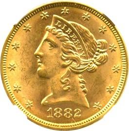 Image of 1882 $5 NGC MS65