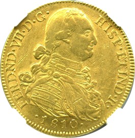 Image of Colombia: 1810-NR JF Gold 8 Escudos NGC AU58 (KM-66.1) 0.7614 oz gold